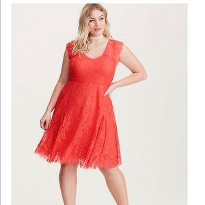 NWOT Torrid Rusty Red Lace V Neck Slater Dress 1